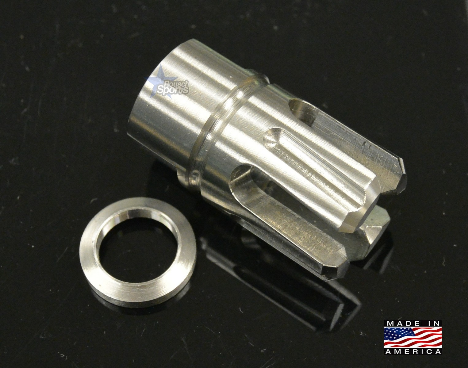Stainless Steel Rampage XS 4 Prong Flash Hider 9mm 6.5 Grendel M16 M4 AR15 AR Austin Texas Best Discount Wholesale Price Accessories Rifle Pistol Handgun Long Gun
