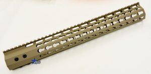 FDE ULS V7B Keymod Free Float HandGuard Forend 15 Inch AR 15 AR 10 Ambidextrous Speed Safety .223 5.56 AR 15 M4 M16 Best Discount Wholesale AR Parts and Accessories Austin Texas USA