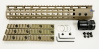 FDE ULS V7B Keymod Free Float HandGuard Forend 12 Inch AR 15 AR 10 Ambidextrous Speed Safety .223 5.56 AR 15 M4 M16 Best Discount Wholesale AR Parts and Accessories Austin Texas USA 2