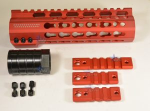 7 Inch Red Anodized Keymod Free Float HandGuard Forend with Stars RED Anodized AR 15 M16 M4 Best Austin Discount AR Parts and accessories Austin Texas Build your custom AR today