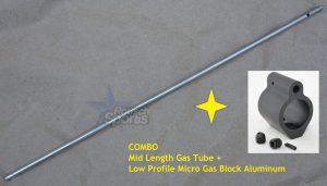 COMBO Mid Length Gas Tube plus .750 Gas Block Aluminum Micro Low Profile Best Discount Prices AR15 M4 M16 Austin Texas Rousch Sports