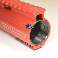 7 Inch Red Anodized Keymod Free Float HandGuard Forend with Stars RED Anodized AR 15 M16 M4 Best Austin Discount AR Parts and accessories Austin Texas Build your custom AR today 6a