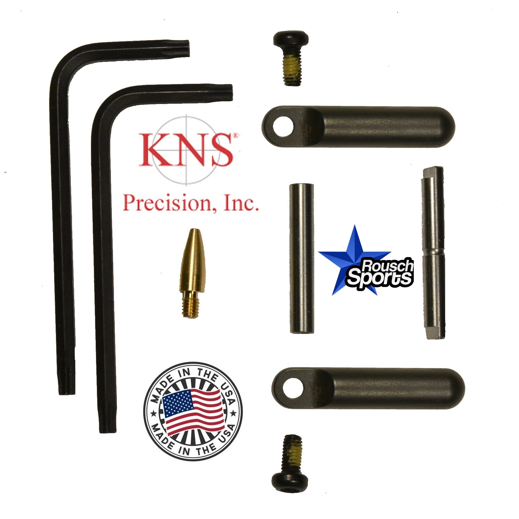 KNS Pins Anti Walk Pins Non-Rotating Gen Northrop Side Plates BLACK .223 5.56 .308 AR 15 M4 M16 Best Discount Wholesale AR Parts and Accessories Austin Texas 1 .223 5.56 .308 AR 15 M4 M16 Best Discount Wholesale AR Parts and Accessories Austin Texas Stainless Steel